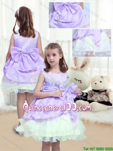 Lovely A Line Scoop Mini Length Little Girl Dress with Bowknot