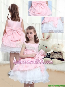 Perfect A Line Scoop Mini Length Bowknot Little Girl Dress for 2016