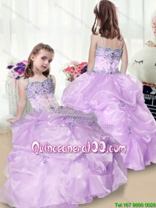 Perfect Beading and Appliques Flower Girl Dress in Lavender