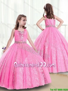 Perfect Rose Pink Straps Little Girl Pageant Dresses with Sequins