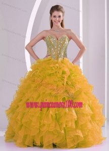 The World Music Awards Beading and Ruffles Sweetheart Long 2015 Spring Quinceanera Gowns