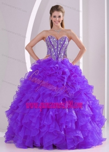 Purple Ball Gown Sweetheart Ruffles and Beading Lace Up Quinceanera Gowns