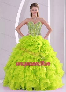 Cute Ball Gown Ruffles and Beading 2013 Fall Quinceanera Gowns in Yellow Green