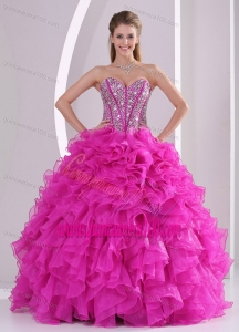 Pretty Sweetheart Ruffles and Beaded Decorate 2014 Fuchsia Quinceanera Gowns