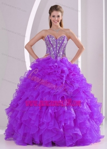 2014 Sweetheart Luxurious Quinceanera Dress with Ruffles and Beaded Decorate