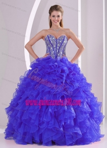 Blue Sweetheart Ruffles and Beaded Decorate Organza Quinceanera Gowns