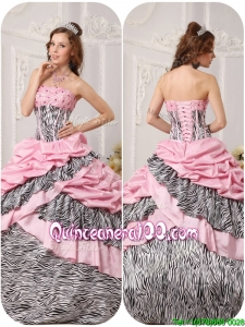 2016 Elegant Ball Gown Strapless Floor Length Beading Quinceanera Dresses