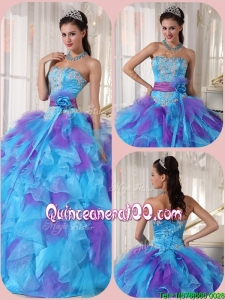 2016 Perfect Ball Gown Floor Length Appliques Quinceanera Dresses