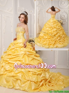 Elegant Ball Gown Court Train Appliques and Beading Quinceanera Dresses