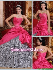 Elegant Ball Gown Hot Pink Quinceanera Gowns with Beading for 2016
