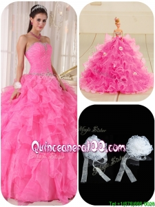 Exquisite Ball Gown Hot Pink Sweet 16 Gowns with Beading for 2016