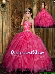 Latest Ball Gown Floor Length Hot Pink Quinceanera Dresses