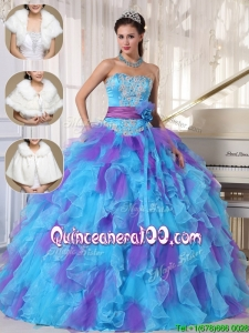 Luxurious Strapless Quinceanera Gowns with Beading and Appliques for 2016 Spring