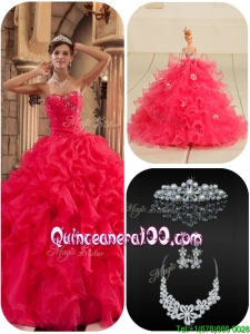 Modern Coral Red Quinceanera Dresses with Beading and Ruffles
