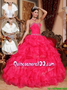 New Style Beading Sweetheart Quinceanera Dresses in Coral Red