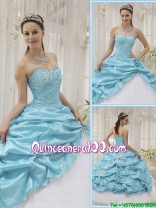 Perfect Beading Sweetheart Quinceanera Gowns in Aqua Blue