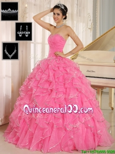 Best Rose Pink Quinceanera Dresses with Ruffles and Beading