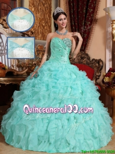 Exclusive Apple Green Quinceanera Dresses with Beading and Ruffles