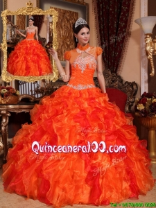 Latest Appliques and Beading Quinceanera Dresses in Orange