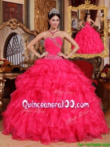 Luxurious Coral Red Ball Gown Floor Length Quinceanera Dresses