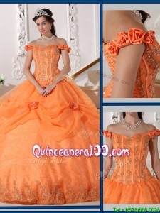 Beautiful Ball Gown Appliques and Hand Made Flowers Sweet 16 Dresses