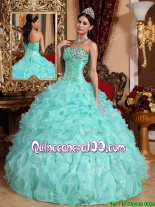 Lovely Apple Green Sweetheart Beading and Ruffles Quinceanera Dresses