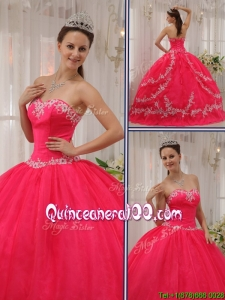 Most Popular Coral Red Quinceanera Gowns with Appliques