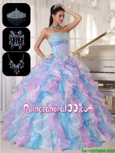 Most Popular Ruffles and Appliques Quinceanera Gowns in Multi Color