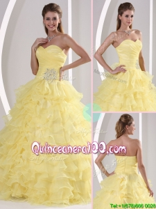 Most Popular Sweetheart Quinceaners Gowns with Appliques and Ruffled Layers