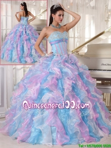 New Arrival Multi Color Quinceanera Gowns with Ruffles and Appliques