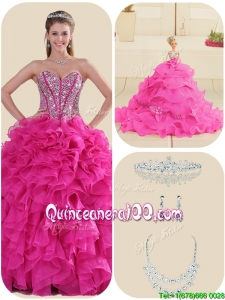 New Style Fuchsia Quinceanera Gowns with Ruffles and Beading