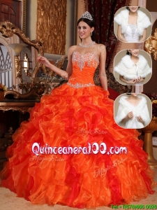 Popular 2016 Sweetheart Beading Sweet 15 Dresses in Orange