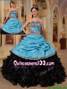 New Arrival Blue and Black Ball Gown Strapless Quinceanera Dresses