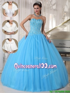 Romantic Beading Ball Gown Floor Length Quinceanera Dresses
