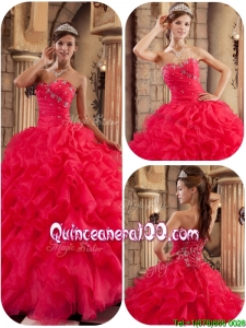 2016 Perfect Coral Red Ball Gown Floor Length Ruffles Quinceanera Dresses