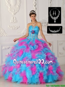2016 Perfect Multi Color Ball Gown Quinceanera Dresses with Appliques