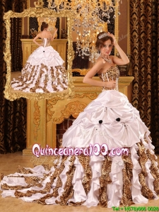 Perfect Ball Gown Strapless Brush Train White Quinceanera Dresses