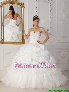 Perfect Beading Sweetheart Quinceanera Gowns in White