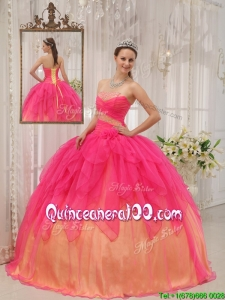 Perfect Hot Pink Strapless Quinceanera Gowns with Beading