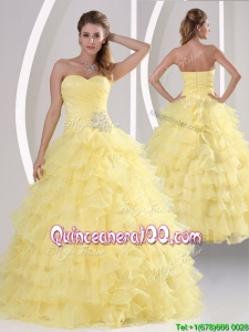 Pretty Appliques and Ruffled Layers Quinceaners Gowns