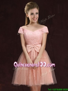 High End Lace and Tulle Short Dama Dress with Off the Shoulder