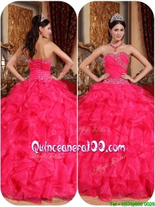 2016 Pretty Coral Red Ball Gown Quinceanera Dresses with Beading