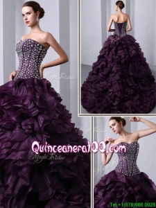 2016 Traditional Sweetheart Beading and Ruffles Quinceanea Dresses with Brush Train