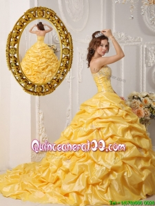 Unique Pick Ups and Appliques Quinceanera Gowns with Court Train