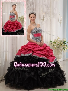 2016 Unique Ruffles Sweetheart Quinceanera Gowns in Red and Black