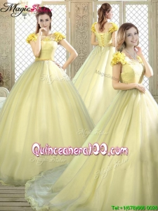 New Arrivals Bateau Brush Train Quinceanera Dresses