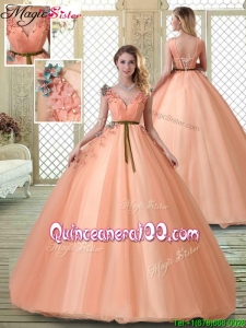 Hot Sale V Neck Simple Quinceanera Dresses with Appliques and Beading