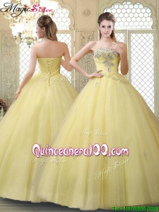 Romantic Strapless Quinceanera Dresses with Appliques and Beading for Fall