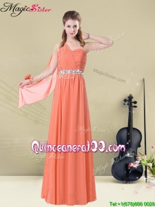 Cheap Empire One Shoulde Bridesmaid Dresses with Ruching and Belt for Fall