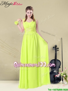 Cheap Empire Straps Belt Bridesmaid Dresses in Yellow Green